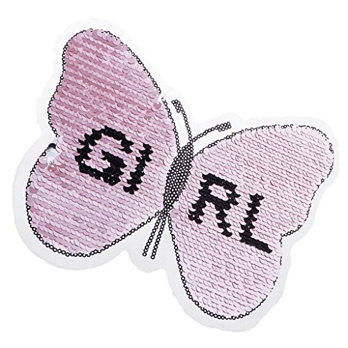 (Butterfly Sequin Embroidered Reversible Sew On Badge for DIY Motif Applique)