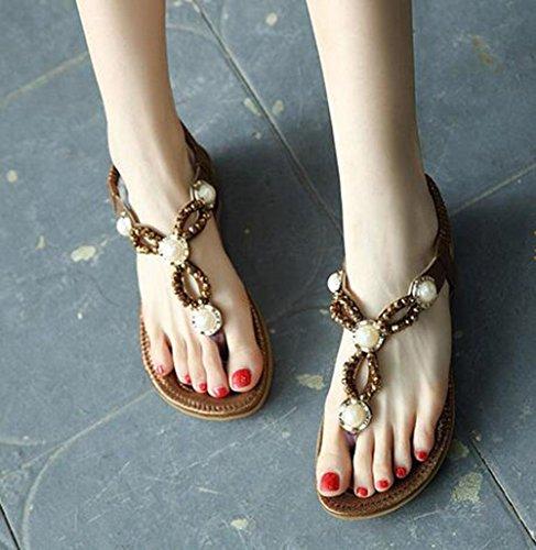KUKI Sandales femme perlée perle diamant plat grande taille chaussures , 1 , US5.5 / EU35 / UK3.5 / CN35