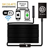 Deyace, Wireless Endoscope (WiFi Borescope) Inspection Camera 2.0 Megapixels HD Snake 5.5mm Camera for Android and IOS Smartphone, iPhone, Samsung, Tablet, Magic Box Black (5 Meter)