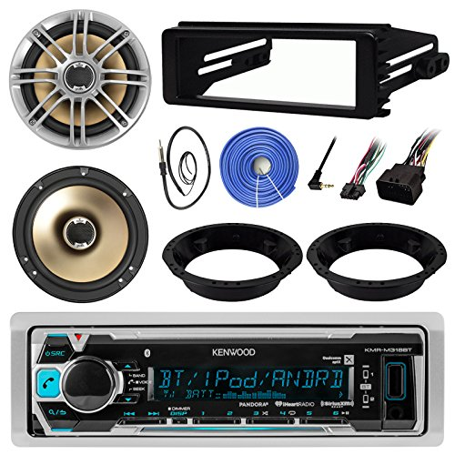 Kenwood KMR-M318BT Stereo MP3 Receiver Bundle Combo With 2x Polk 6.5