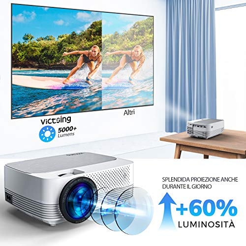 VicTsing Mini Wireless Projector, 5000LUX LED Movie Projector, Native 1280x720P Portable Home Theater Projectors, 1080P Supported, 50,000h Lamp Life, Compatible with Audio, AV, USB, HDMI, SD, PS4