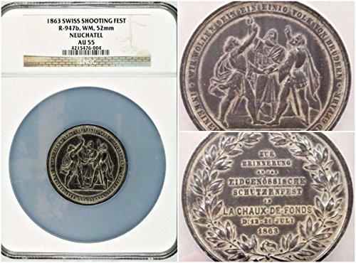 1863 CH 1863 Rare Swiss Medal Shooting Fest Neuchatel Cha coin Good