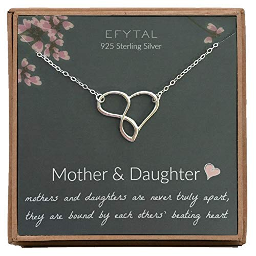 Mother Daughter Necklaces (EFYTAL Mom Gifts, 925 Sterling Silver Infinity Heart Necklace for Mother & Daughter, Mom Necklaces for Women, Best Birthday Gift Ideas, Pendant Mother's Day Jewelry For Her, Mothers)