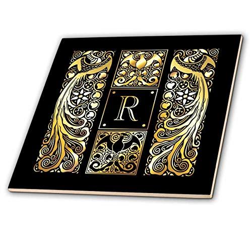3dRose Russ Billington Monograms-Peacocks- Letter R - Image of Art Nouveau Peacocks- Monogram Letter R- not foil Embossed - 4 Inch Ceramic Tile (ct_298077_1)