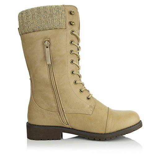 Dailyshoes Womens Bekämpa Stil Upp Fotled Bootie Vadderade Militära Sticka Kreditkorts Kniv Pengar Plånbok Ficka Stövlar Beige Pu