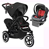 Phil & Teds Sport Stroller V5_5 With Double Seat - Black and Alpha Infant Car Seat - Flint Red