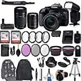 Canon EOS Rebel T7i DSLR Camera with EF-S 18-135mm f/3.5-5.6 IS STM Lens + EF-S 55-250mm f/4-5.6 IS STM Lens + Battery Grip + Automatic Flash + 64 GB Sandisk SD Memory + Filter & Macro Kits + More