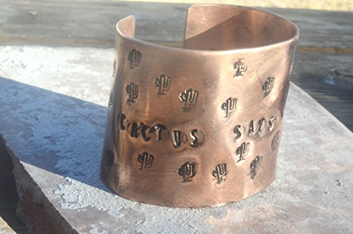 Cactus Filigree - Cactus Says F$%# You Arizona Saguaro Southwestern Chased Copper Wide Cuff Bracelet Handmade Forged One of a Kind,,Artisan