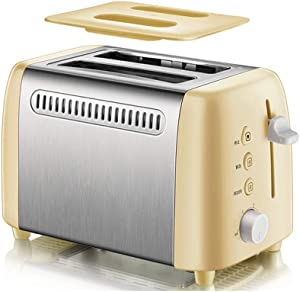 AQWER Toaster 2 Slice, 2 Slice Toaster with 6 Toasting Settings and Removable Crumb Tray, Extra Stainless Steel Wide Slot (Color : Gold)