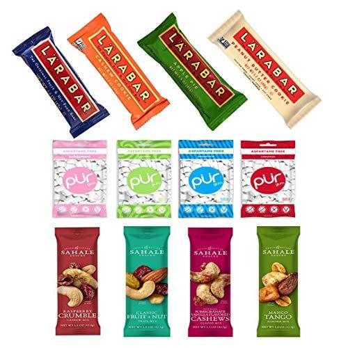 Ultimate Healthy Snacks Sampler (Including Larabar, Sahale & PUR Gum) Variety Pack of 30 with free Vigor Path Bag by VIGOR PATH (Image #1)