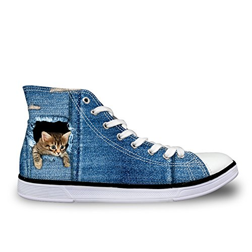 HUGS IDEA Cute Cat Dog Print Women Denim Sneakers High Top Canvas Shoes Cat Pattern-1 y7EubMj