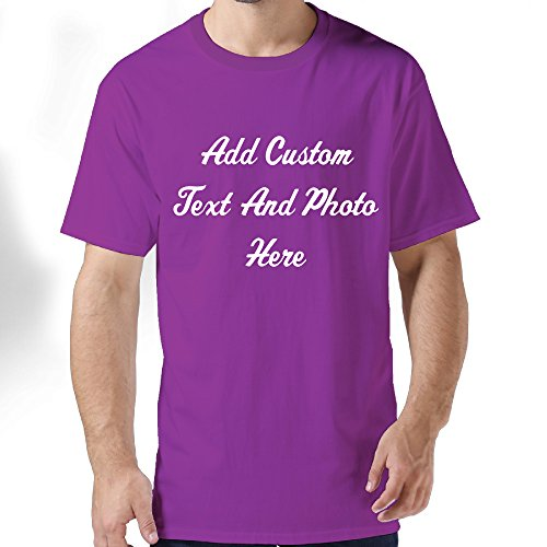 Men's Custom T-shirts Add Your Picture Photo Text Print Add Your Design (Purple (Tac Folder)