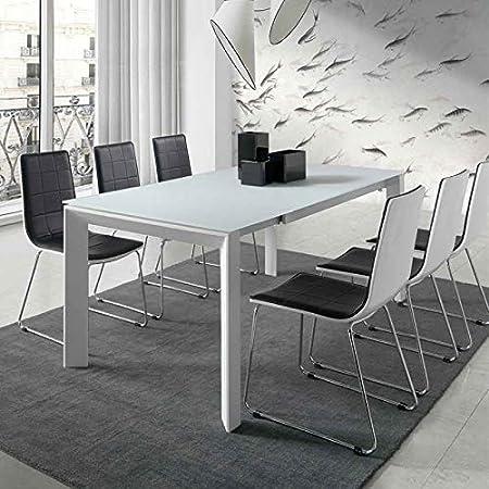 Tavolo Allungabile Laccato Bianco.M 034 Tavolo Allungabile Bianco Laccato Design Emera Amazon It