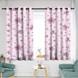 home1love Thermal Insulated Blackout Curtains Energy Efficient, Room Darkening W 72' XL 72' Flowers bluebells Seamless Wallpaper