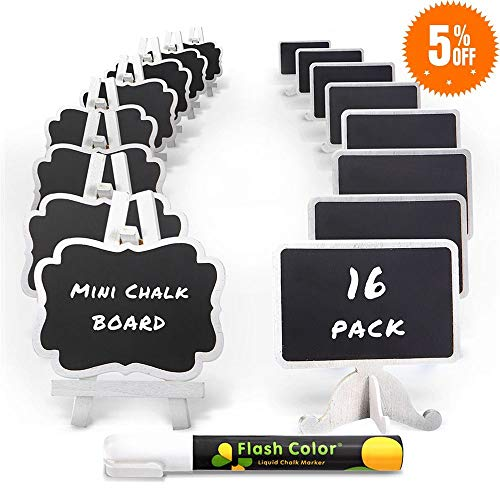 Mini Chalkboard Label Signs 16 Pack with Easel Stand Design, Small Chalk Blackboards for Food and Table Numbers, Best Rustic Decoration for Weddings and Birthday Parties, 2 Design Party Supplies
