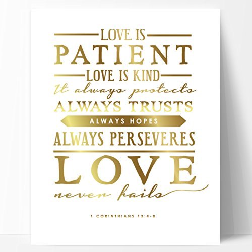 Ocean Drop Designs Love is Patient Gold Unique Wedding Gift, Gold Foil Print - Beautiful Engagement Gift, or Wedding Present with Meaningful Wedding Blessing Quote, Made in The -