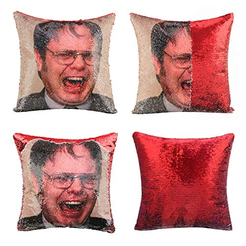 Mermaid Throw Pillow Cover Dwight Magic Reversible Sequin Cushion Cover Decorative Pillowcase That Change Color (L The Office-Red Sequins)