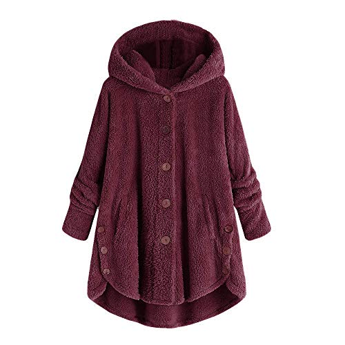 (Dressin Women Jacket Winter Plus Size Ladies Fashion Button Coat Fluffy Tail Tops Hooded Pullover Loose Sweater Wine)