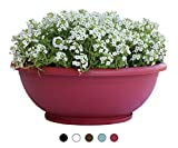 TABOR TOOLS Plastic Planter Bowl, Garden Bowl for Indoor and Outdoor Use, Round. VEN304A. (12', Dark Red)