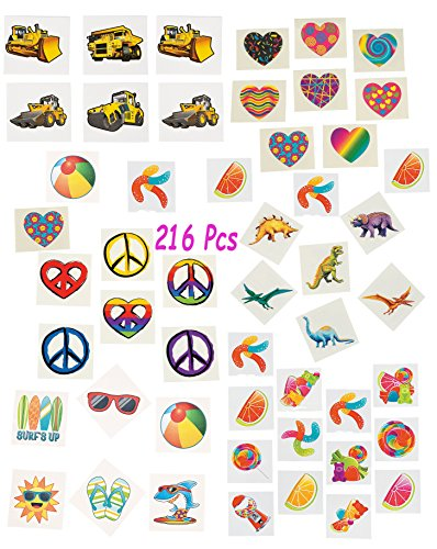 Boy 16 Sheets Temporary Tattoos for Kids 5x3 inches 200 Designs