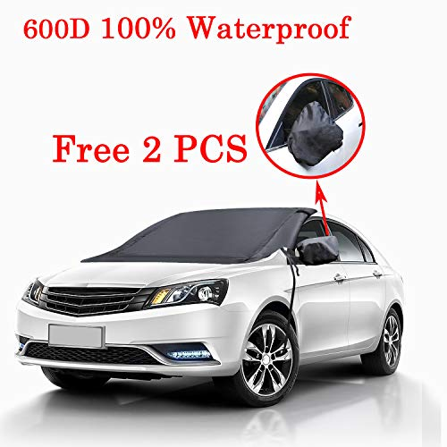 Windshield Snow Cover 100% Waterproof with 2 Free Mirror Cover, Windshield Cover for Ice Snow Frost Winter, 600D All Weather Snow Covers for Car SUV Truck with Windproof Ribbon