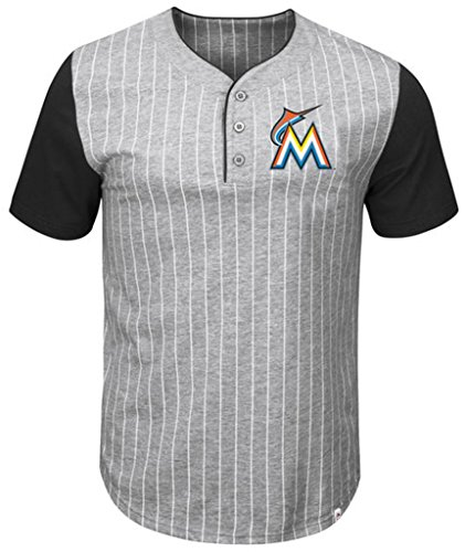 (VF Miami Marlins MLB Mens Majestic Life Or Death Pinstripe Henley Shirt Gray Big & Tall Sizes (3XT))