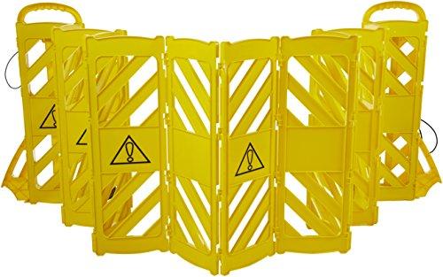 Amazon Basics Expandable Mobile Barricade Fence System, Yellow  