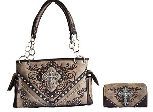 western beige tan brown rhinestone cross embroidery purse set