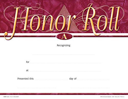 School Smart Honor Roll A Recognition Award - Fill in The Blank, 11 x 8-1/2 inches, Pack of 25