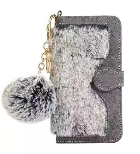 Losin Plush Wallet Compatible with iPhone 7 Plus / iPhone 8 Plus 5.5 Inch Fashion Fluffy Rex Rabbit Fur Wallet Flip Plush Ball PU Leather - Phone Plush
