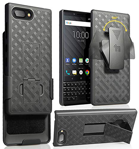 (BlackBerry KEY2 Case Clip, Nakedcellphone Black Kickstand Cover [Rotating/Ratchet] Belt Hip Holster Combo BlackBerry KEY2 Phone, Key 2 (BBF100-1, BBF100-6))