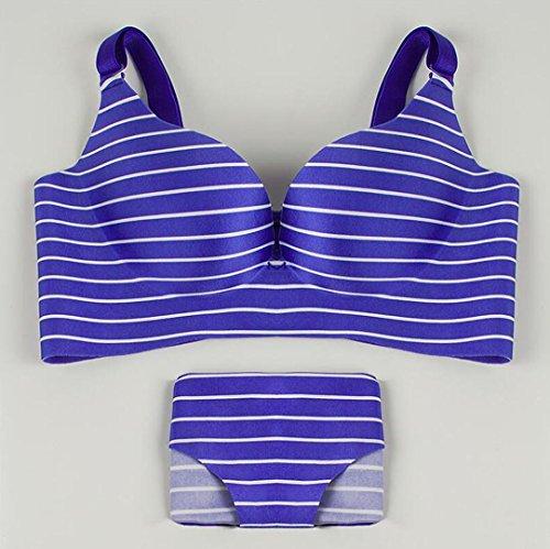 Heart&M Mince lisse v profond bra la femme set lingerie , blue , 70b