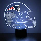 Mirror Magic Store New England Patriots Football Helmet LED Night Light with Free Personalization - Night Lamp - Table Lamp - Featuring Licensed Decal