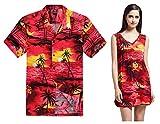 Couple Matching Hawaiian Luau Outfit Aloha Shirt Tunic Slip On Dress In Sunset Red Men XL Women S