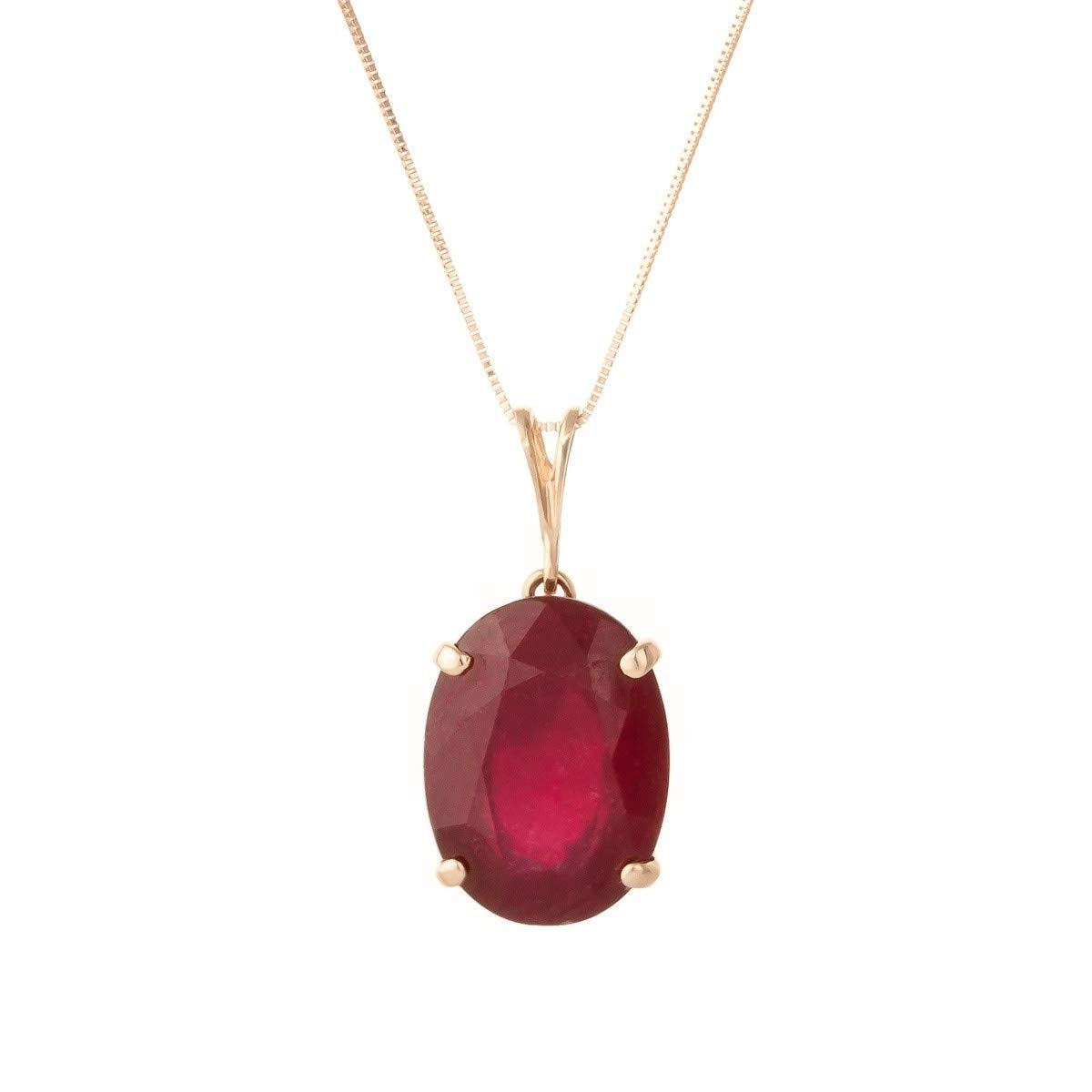 7.7 Carat 14k 20'' Solid Rose Gold Necklace with Natural Oval-Shaped Ruby Pendant