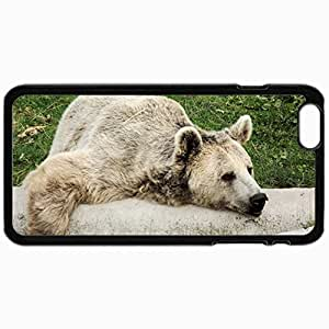 Customized Cellphone Case Back Cover For iPhone 6, Protective Hardshell Case Personalized Bear Tree Lying Lazy Black