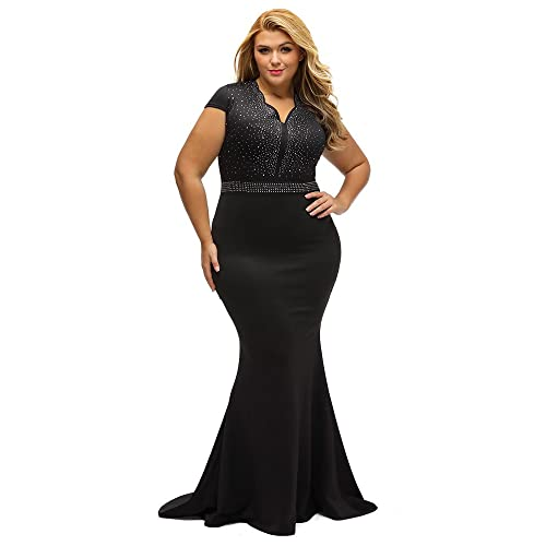 Lalagen Womens Short Sleeve Rhinestone Plus Size Long Cocktail Evening Dress