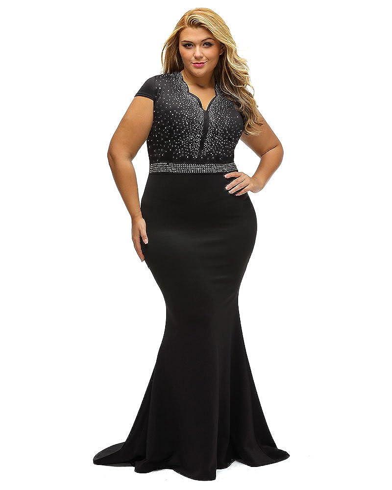 54d020a93f4c Amazon.com  Lalagen Women s Short Sleeve Rhinestone Plus Size Long Cocktail  Evening Dress  Clothing