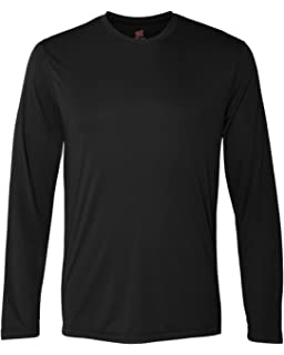 045372f5 Hanes Men's Long Sleeve Cool Dri T-Shirt UPF 50+ (Pack of 2) at ...
