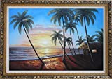 Framed Oil Painting 24''x36'' Hawaii Beach Sunset Sea Palm Trees Hammock Seascape America Naturalism Ornate Frame