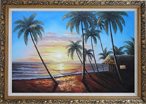 Framed Oil Painting 24''x36'' Hawaii Beach Sunset Sea Palm Trees Hammock Seascape America Naturalism Ornate Frame by BeyondDream