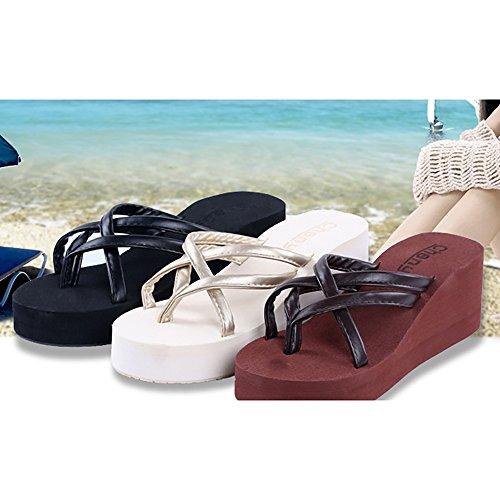 Pingenaneer da Suola da 38 Donna Spessa Sandali da Nero Spiaggia con Estate Infradito da Donna Nero EU 7PzqxYP