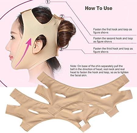 Mascarilla adelgazante facial en V, cinturón para la barbilla, máscara facial adelgazante, mascarilla facial para el cuello fino (color piel)