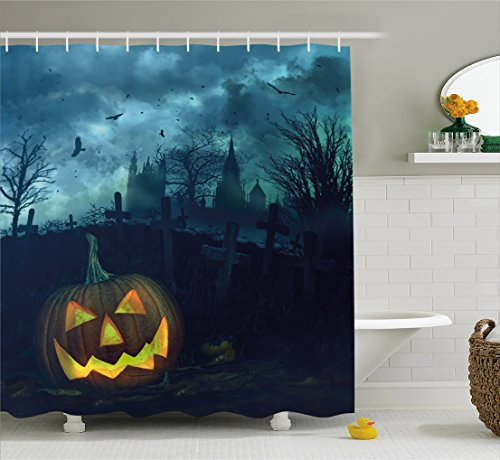 College Ideas For Halloween (Halloween Shower Curtain by Ambesonne, Halloween Pumpkin in Spooky Graveyard Eerie Gloomy Stormy Atmosphere, Fabric Bathroom Decor Set with Hooks, 70 Inches, Petrol Blue Yellow)