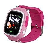 Kids Smart Watch Phone, GPS Tracker Smart Wrist Watch with SOS Anti-Lost Alarm Sim Card Slot Touch Screen Smartwatch for 3-12 Year Old Children Girls Boys Compatible for iPhone Android (Pink)