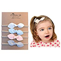 Rabbit Ears Faux Leather Bow - Soft & Stretchy Headband for Baby, Toddler, Gi...