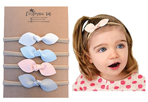 Rabbit Ears Faux Leather Bow - Soft & Stretchy Headband for Baby, Toddler, Girls, Set of 4 (Pastel) (Infant Bow Headbands)