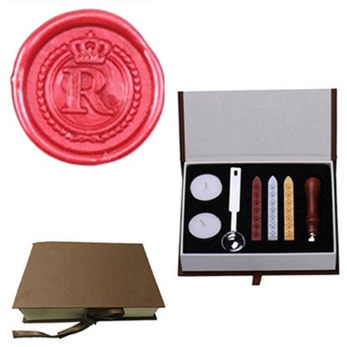 Red Wreath Seal (MDLG Vintage Alphabet Letter R Crown Wreath Initial Embossment Wedding Invitations Gift Cards Wax Seal Stamp Stationary Sealing Wax Stamp Wood Handel Gift Box Candles Wax Sticks Melting Spoon Kit Set)