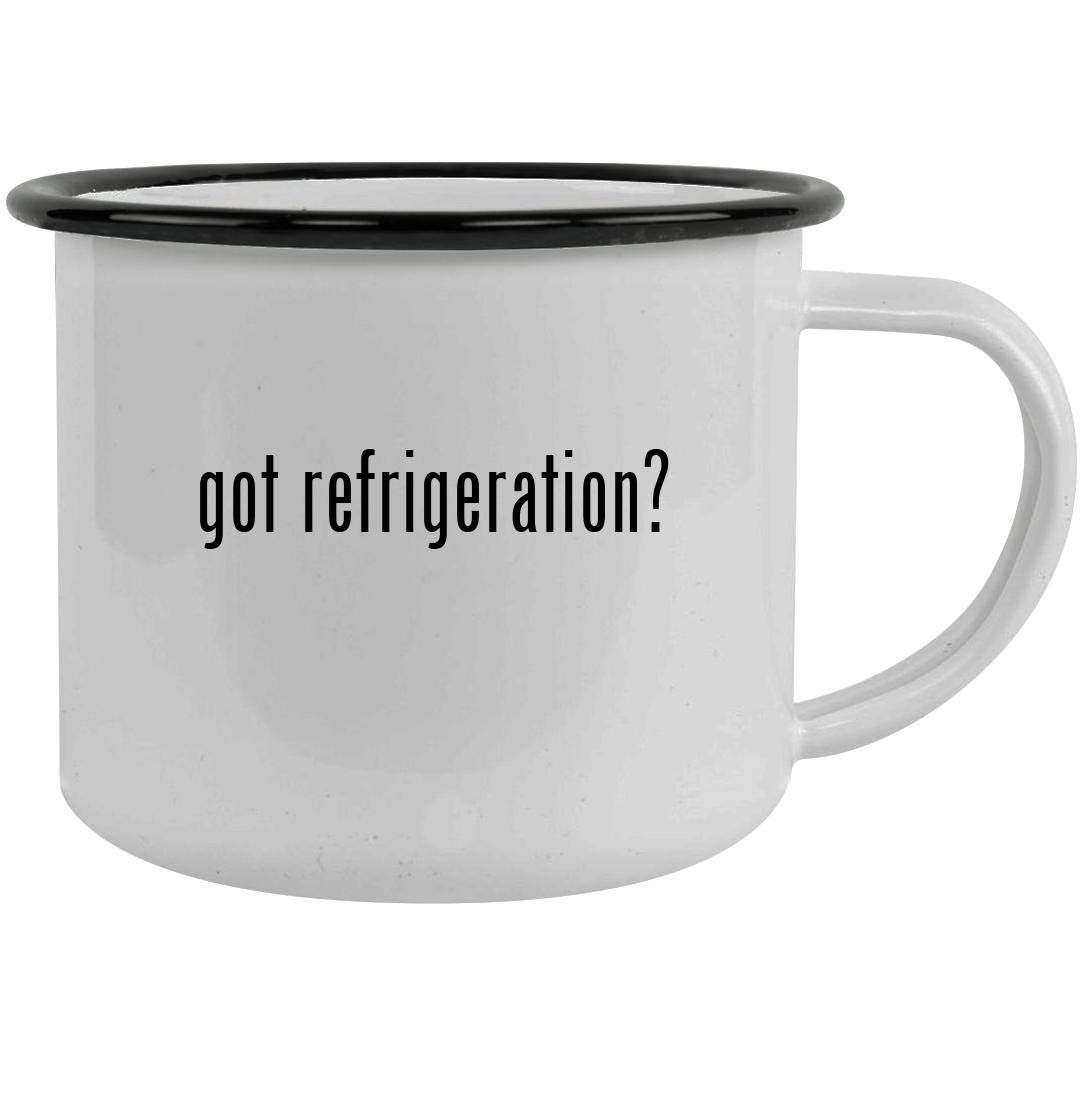 got refrigeration? - 12oz Stainless Steel Camping Mug, Black