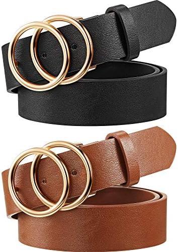 [해외]2 Pieces Women Leather Belt Faux Leather Waist BeltsDouble O-Ring Buckle / 2 Pieces Women Leather Belt Faux Leather Waist BeltsDouble O-Ring Buckle